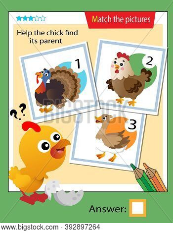 Matching Game, Education Game For Children. Puzzle For Kids. Match The Right Object. Help The Chick