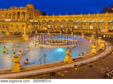 Budapest, Hungary - December 26, 2016: Famous Szechnyi thermal bath spa in Budapest