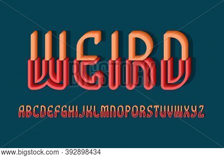 Volumetric Weird Alphabet Of Orange Red Letters Of Two Parts. 3d Display Font. Isolated English Alph