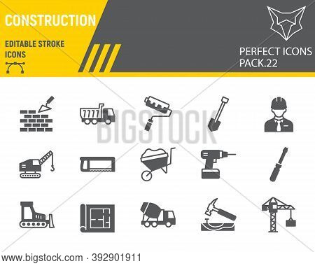 Construction Glyph Icon Set, Repair Collection, Vector Sketches, Logo Illustrations, Construction Ic