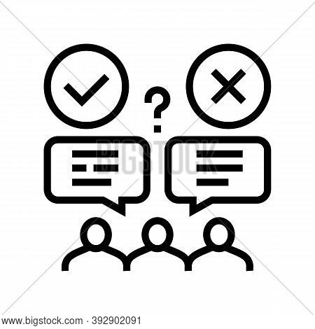 Wrong And Correct Opinion Line Icon Vector. Wrong And Correct Opinion Sign. Isolated Contour Symbol