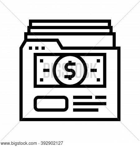 Investment Archive Folder Line Icon Vector. Investment Archive Folder Sign. Isolated Contour Symbol