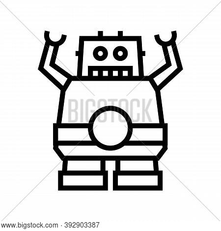 Robotic Geek Line Icon Vector. Robotic Geek Sign. Isolated Contour Symbol Black Illustration