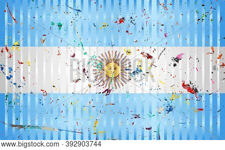 Argentina Flag With Color Stains - Illustration,  Three Dimensional Flag Of Argentina