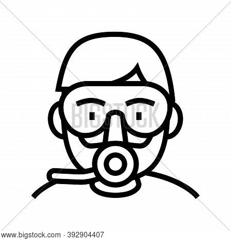Diver Mask And Breath Tool Line Icon Vector. Diver Mask And Breath Tool Sign. Isolated Contour Symbo