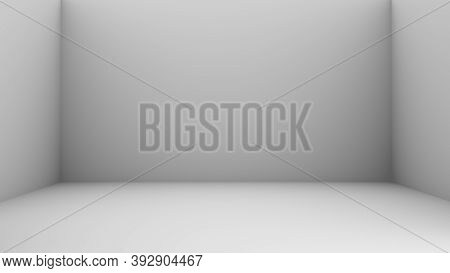 3d Empty Room With Corner. Abstract White Empty  Room Background. 3d Render. White Shadow In Square