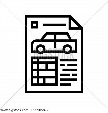 Car Characteristics Paper List Line Icon Vector. Car Characteristics Paper List Sign. Isolated Conto