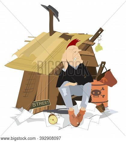 Sad Beggar Sits Near The Hut Illustration. Hungry And Chilled Man Sits Near The Hut With Trash Surro