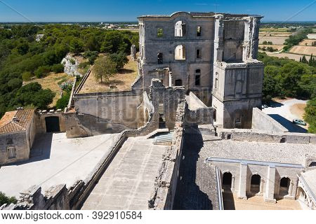 Montmajour,france-august 14,2016:the Abbey Of St. Peter In Montmajour Is A  Large Fortified Monaster