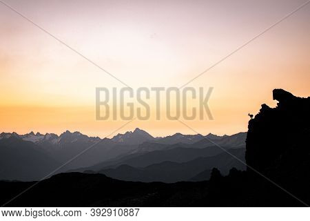 Silhouette Of A Walking Chamois In The Swiss Alps