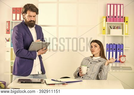 Business Couple Working. Man And Woman Office. Friendly Gesture. Personal Assistant. Modern Business