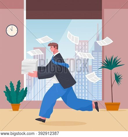 Running Young Man Businessman Against A Large Window, Cartoon Concerned Character With A Stack Of Pa