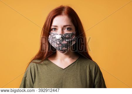Young Woman Wearing Homemade Everyday Cloth Face Mask Or Community Mask - Covid-19 Corona Virus Pand