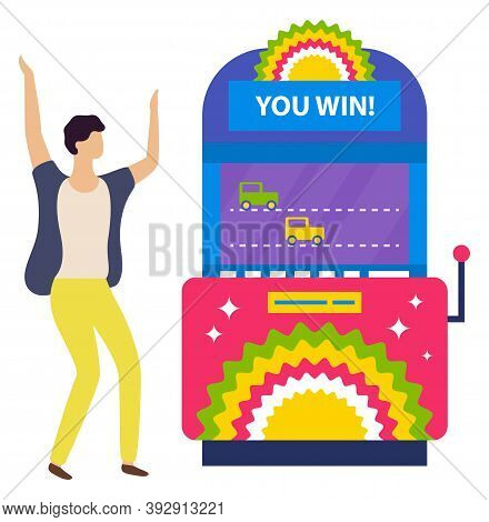 Winning Machine Bringing Money To Man Vector, Isolated Person Winning In Casino. Car Race On Screen