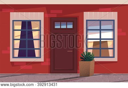 The Illustration With An Wooden Front Door And Part Of Wall With Windows In Evening Time, House Exte
