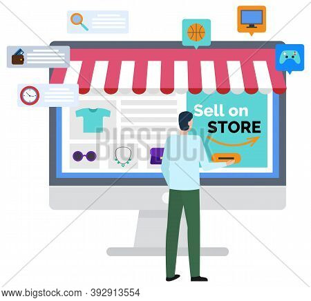 Sell On Store, Logistics Worldwide B2b, Shopper Buying Things Online. Marketplace Online, E-commerce