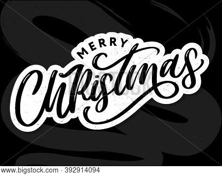 Merry Christmas 2021 Beautiful Greeting Card Poster With Calligraphy Black Text Word. Hand Drawn Des