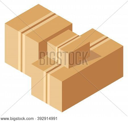 Packing Product Icon. Packing Yellow Boxes, Package Service, Transportation Parcel, Deliver Containe