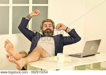 Maintaining Regular Business Hours. Man Doing Business From Home. Procrastination Concept. Misconcep