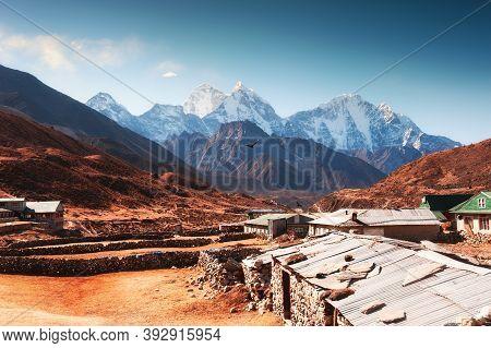 Pheriche Village And View Of Mount Kangtega At Sunrise In Himalaya Mountains. Khumbu Valley, Everest