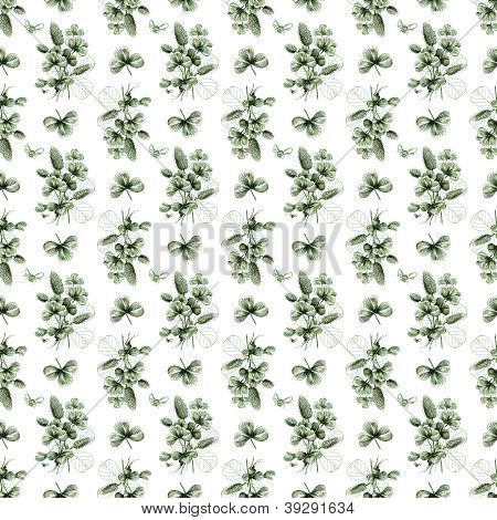 Seamless Clover & Bee Background