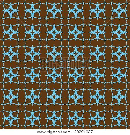 Seamless Aqua & Brown Retro Stars