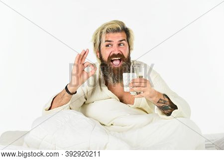 Treatment Concept. Healthcare Take Medication. Bearded Man On Sick Leave. Healthcare Of Man Taking M