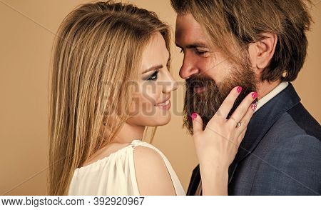 Deep In Love. Sexy Formal Couple. Bearded Man And Woman Embrace. Fashion And Beauty. Valentines Day