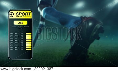 Smartphone Screen With Mobile App For Betting And Score. Device With Match Results On Screen, Sports