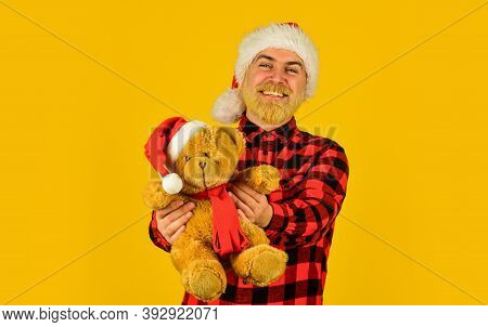 Santa Claus. Charity And Kindness. Lovely Hug. Mature Man With Long Beard. Christmas Spirit. Christm