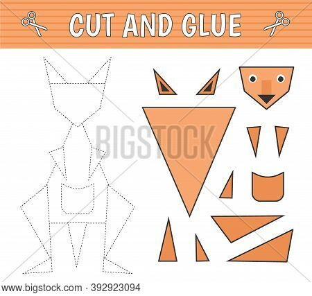 A Kangaroo Of Geometric Shapes. Cut And Glue. Children's Game. Constructor, Application. Vector Illu