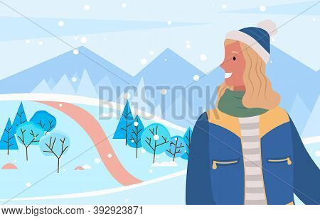 Pretty Woman Standing On Pathway. Person Smiling And Posing In Winter Wood Alone. Lady Dressed In Ha