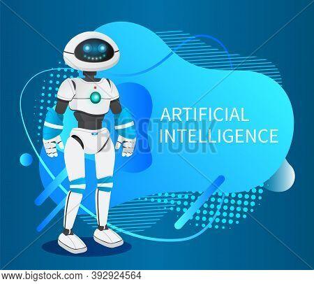 Futuristic Robot Like A Human, Artificial Intelligence. Innovative Humanized Model Of Robot. Realist