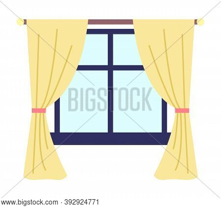 Illustration Of Living Room Window With Yellow Curtains And Dark Blue Window Frame And Windowsill Ve
