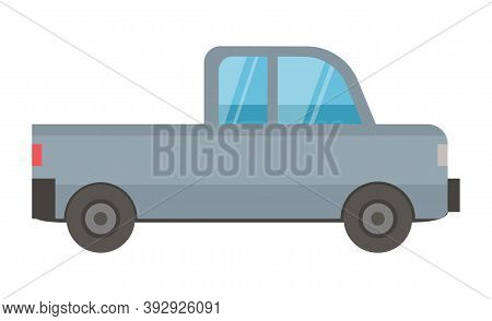 Side View Of Grey Car, Automobile Object. Transportation Automobile, Urban Equipment With Wheels, Ur