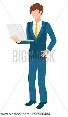 Businessman Using Laptop Vector, Isolated Character Wearing Suit And Tie. Formal Representative Of C