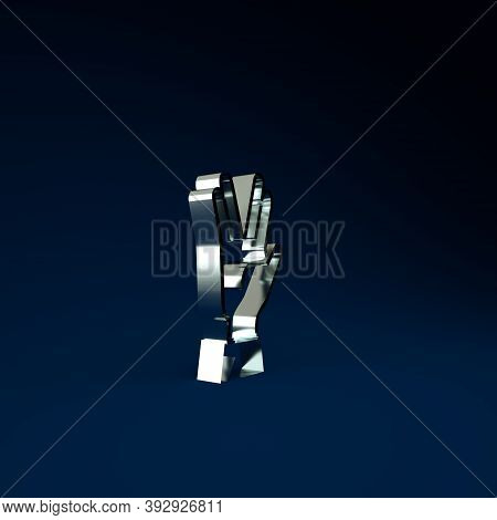 Silver Vulcan Salute Icon Isolated On Blue Background. Hand With Vulcan Greet. Spock Symbol. Minimal