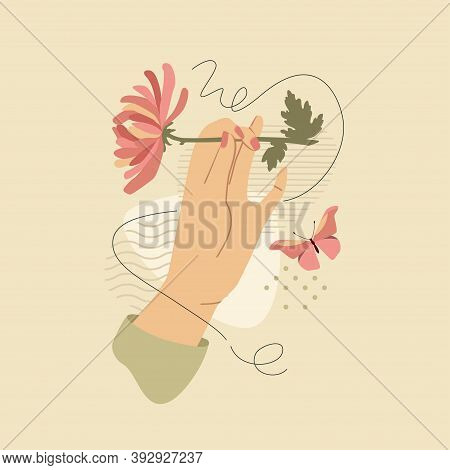 Female Hand With Chrysanthemums Over Modern Abstract Shapes. Vector Fashion Vintage Style Illustrati