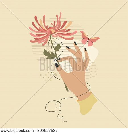 Hand With Chrysanthemum Flower And Butterfly Over Modern Abstract Shapes. Vector Fashion Vintage Sty