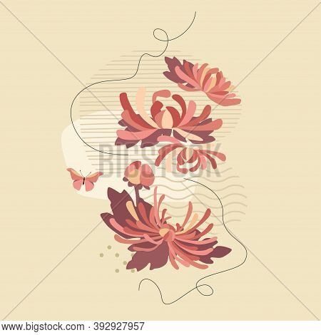 Pink Chrysanthemums And Abstract Composition With Butterfly. Vector Floral Tender Design For Romanti