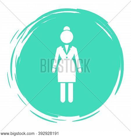 Vector Business Woman White Silhouette In A Round Aquamarine Frame. Lady Dressed Formally Full Lengt