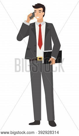 Man Wearing Suit With Tie Vector, Isolated Male Leader Of Company. Male Talking On Phone, Formalwear