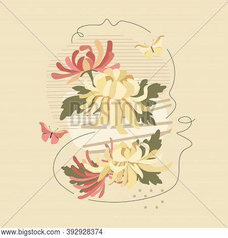Chrysanthemums And Abstract Composition With Butterflies. Vector Floral Tender Design For Romantic I