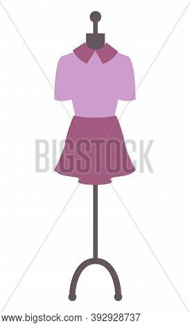 Dress On Mannequin Vector, Isolated Robe Purple Dressing Skirt And Blouse For Special Occasions. Bea