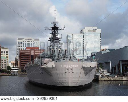 Norfolk, Usa - June 9, 2019: Stern Of The Battleship Uss Wisconsin Docked In The Port Of Norfolk Tha