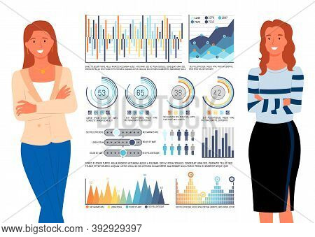 Data In Charts And Infocharts Vector, Women Working In Team, Colleagues Standing By Info Analytics O
