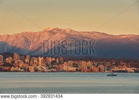 North Vancouver Burrard Inlet Dusk. Last Light On The Mountains And North Vancouver Across Burrard I