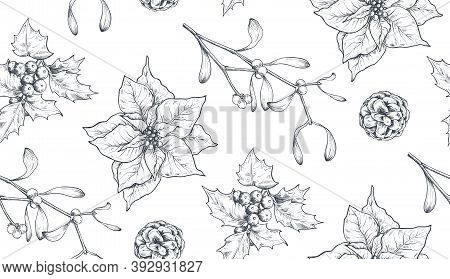Vector Seamless Pattern With Christmas Floral Elements, Plants, Branches, Pine Cones, Poinsettia