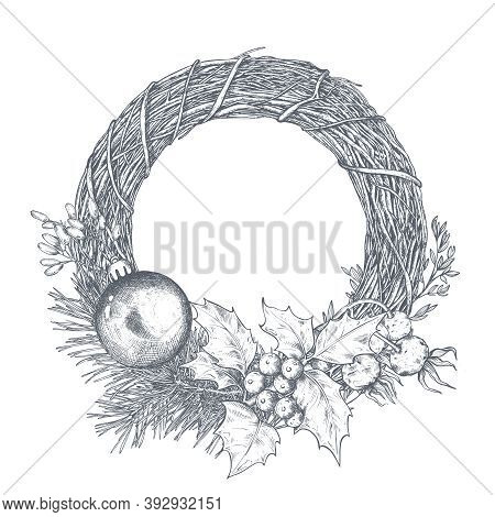 Vector Template For Christmas Greeting Card Or Invitation With Hand Drawn Wreath, Winter Plants, Pin