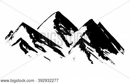 Black Vector Textured Chinese Ink Hand Drawn Mountains Illustration. Sketchy Simple Hills Landscape